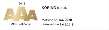 Bonitetna odličnost AAA - Koring d.o.o.